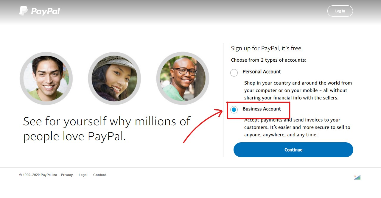 Choose type of PayPal Account to create