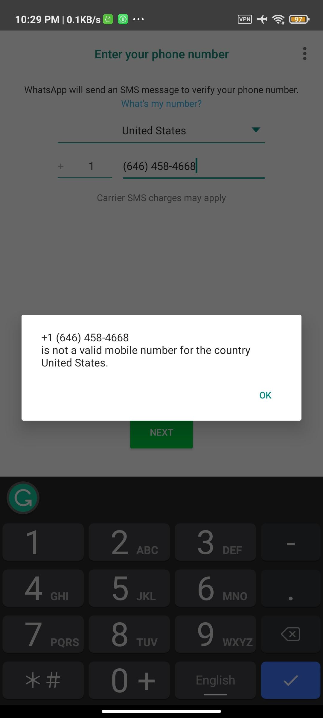 WhatsApp set up error using Texnow USA phone number